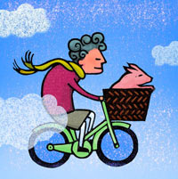 Granny biker with pig in basket